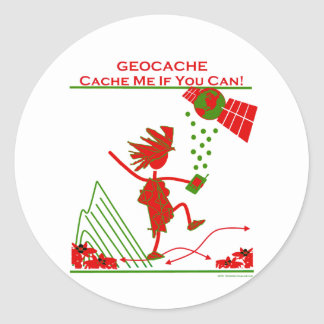 Geocache Gift - Cache me if you can! Gifts & T's Classic Round Sticker