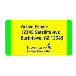 Geocache - hágale un asunto de familia etiqueta de envío