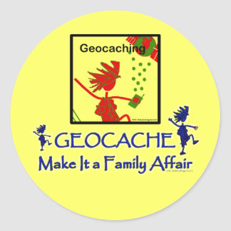 Geocache - hágale un asunto de familia pegatina redonda