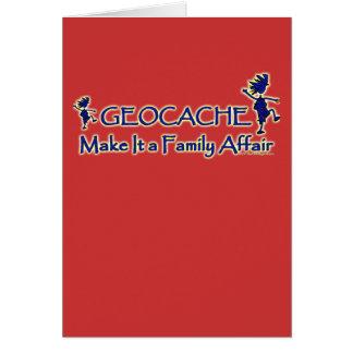 Geocache - hágale un asunto de familia tarjeton