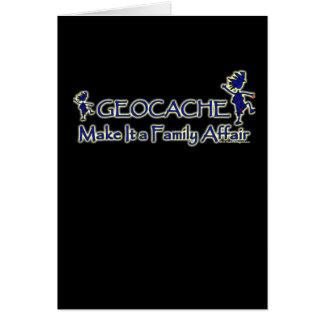 Geocache - hágale un asunto de familia tarjetón