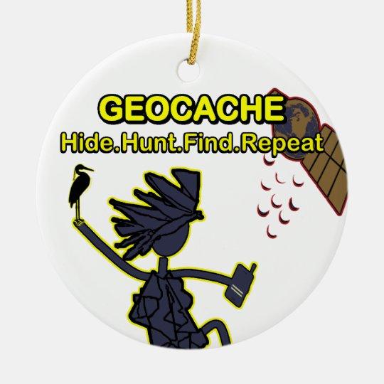 Geocache Hide Hunt Find III Ceramic Ornament