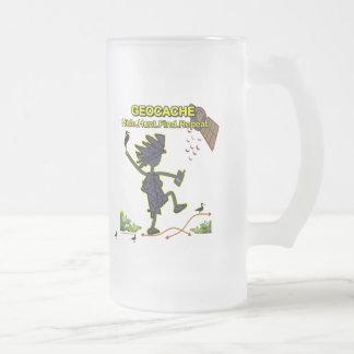 Geocache Hide Hunt Find III Frosted Glass Beer Mug