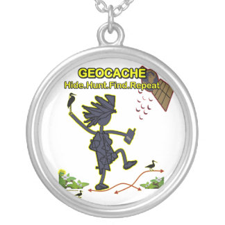 Geocache Hide Hunt Find III Silver Plated Necklace