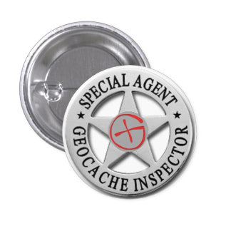 Geocache Inspector *Special Agent* w/logo Button
