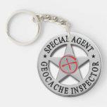 Geocache Inspector *Special Agent* w/logo Double-Sided Round Acrylic Keychain