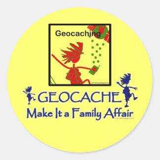 Geocache - Make It a Family Affair Classic Round Sticker