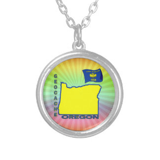 GEOCACHE  OREGON SILVER PLATED NECKLACE