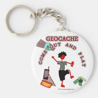 Geocache sale y juega llavero redondo tipo pin