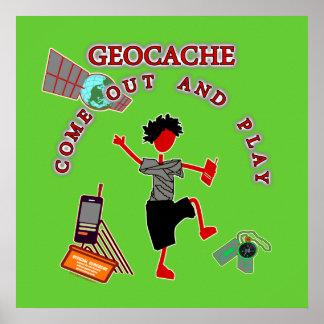 Geocache sale y juega póster