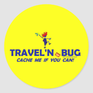 Geocache Travel'n Bug Classic Round Sticker