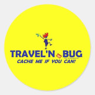Geocache Travel'n Bug Classic Round Sticker