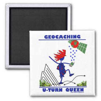 Geocache U Turn Queen 2 Inch Square Magnet