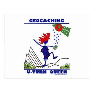 Geocache U Turn Queen Postcard