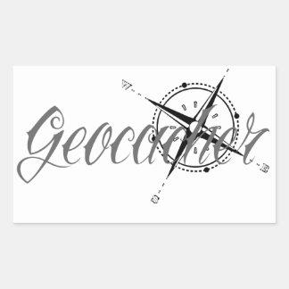 Geocacher con el compás pegatina rectangular