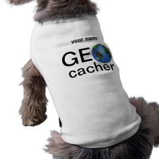 Geocacher Earth Geocaching Custom Name Doggie Tee