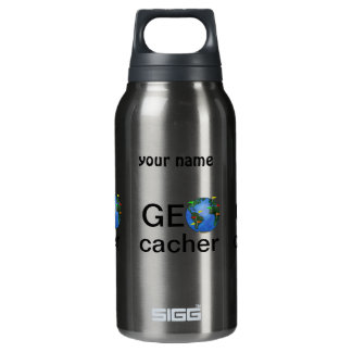 Geocacher Earth Geocaching Custom Name Insulated Water Bottle