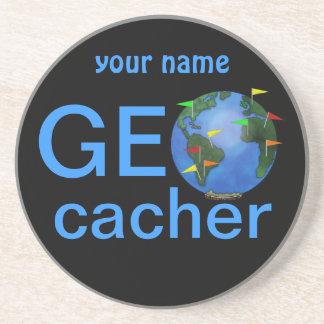 Geocacher Earth Geocaching Custom Name Sandstone Coaster