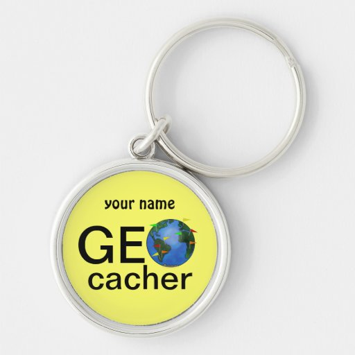 Geocacher Earth Geocaching Custom Name Silver-Colored Round Keychain