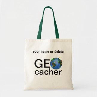 Geocacher Earth Geocaching Custom Name Tote Bag