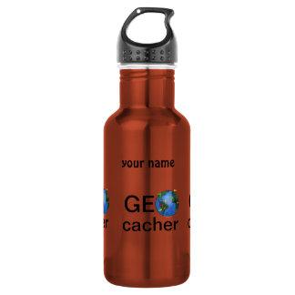 Geocacher Earth Geocaching Custom Name Water Bottle