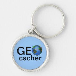 Geocacher Earth Geocaching Customizable Swag Keychain