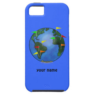 Geocacher Earth With Flags Custom Name iphone 5 iPhone SE/5/5s Case