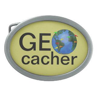 Geocacher Earth with Flags Geocaching Custom Belt Buckle