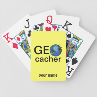 Geocacher Earth with Flags Geocaching Custom Bicycle Playing Cards