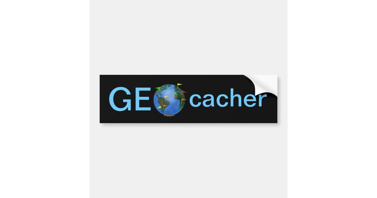 Geocacher Earth With Flags Geocaching Custom Car Bumper Sticker - Custom car bumper stickers