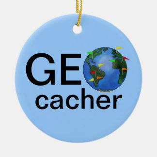 Geocacher Earth with Flags Geocaching Custom Ceramic Ornament