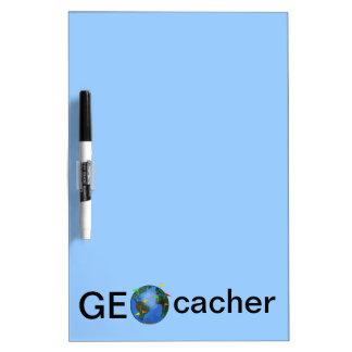 Geocacher Earth with Flags Geocaching Custom Dry Erase Board