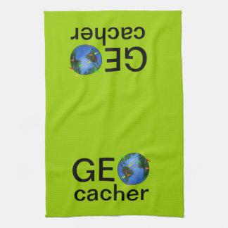 Geocacher Earth with Flags Geocaching Custom Hand Towel