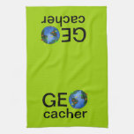 Geocacher Earth with Flags Geocaching Custom Towels