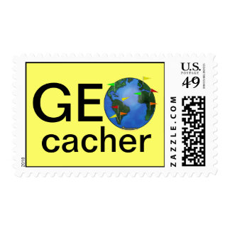 Geocacher Earth with Flags Geocaching Custom Postage Stamp