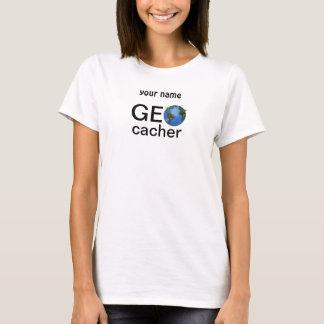 Geocacher Earth with Flags Geocaching Custom T-Shirt
