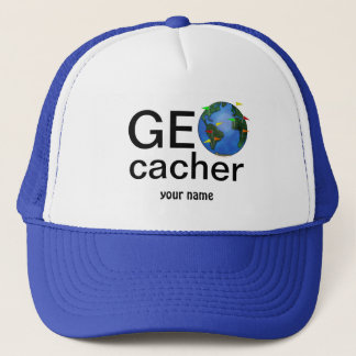 Geocacher Earth with Flags Geocaching Custom Trucker Hat