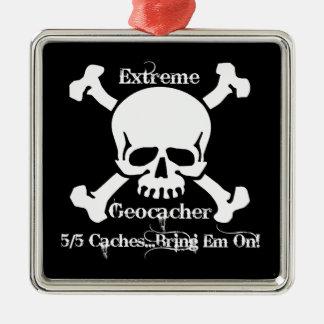 Geocacher extremo adorno navideño cuadrado de metal