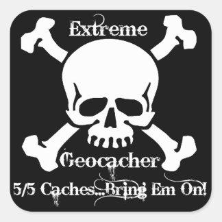 Geocacher extremo pegatina cuadrada