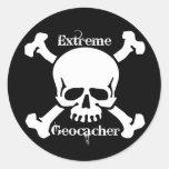 Geocacher extremo pegatina redonda