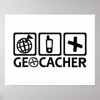 Geocacher Geocaching Póster
