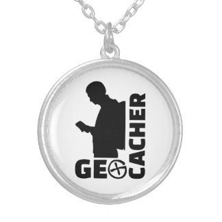Geocacher Silver Plated Necklace