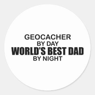 Geocacher World's Best Dad by Night Classic Round Sticker