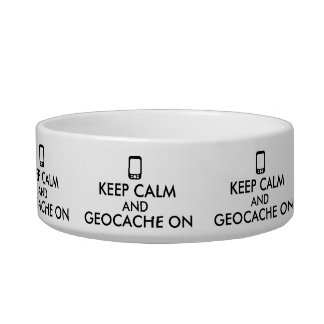 Geocaching Dog Bowl Keep Calm and Geocache On GPS