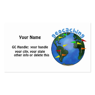 Geocaching Earth With Cache Flags Custom Business Cards