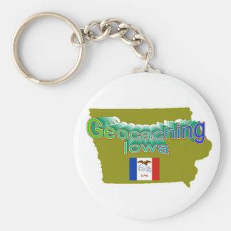 Geocaching Iowa Keychain