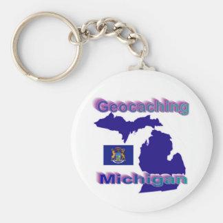 Geocaching Michigan Keychain