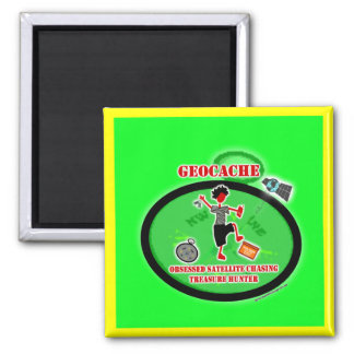 Geocaching  Obsessed Satellite 2 Inch Square Magnet
