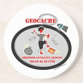 Geocaching  Obsessed Satellite Beverage Coaster
