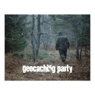 Geocaching Party Quest Fun Theme Woods Invitations